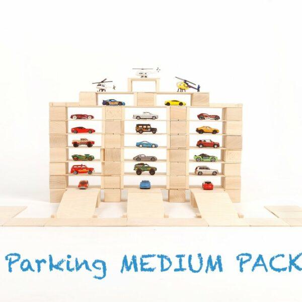 Houten blokken Just Blocks medium pack parkeerplaats