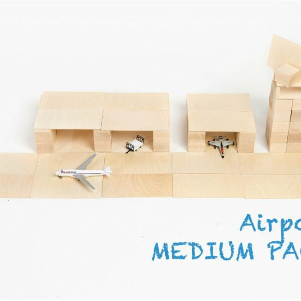 Houten blokken Just Blocks medium pack vliegveld