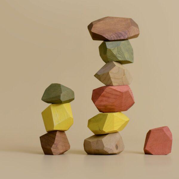 Houten balanceerstenen MinMin Copenhagen aardetinten-1