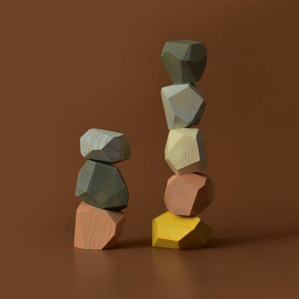 Houten balanceerstenen MinMin Copenhagen pastelkleuren-4