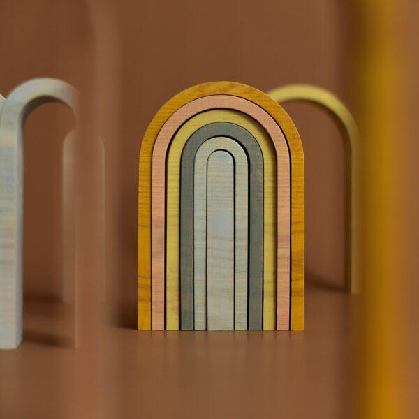 Houten regenboog klein pastelkleuren-4