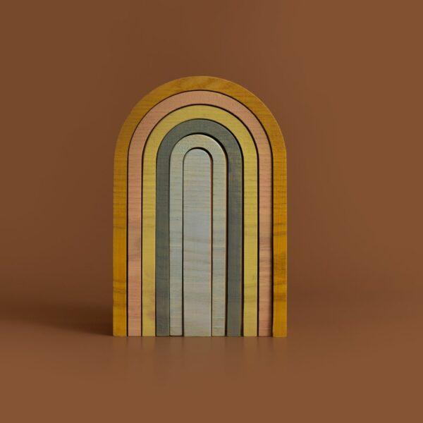 Houten regenboog klein pastelkleuren-5