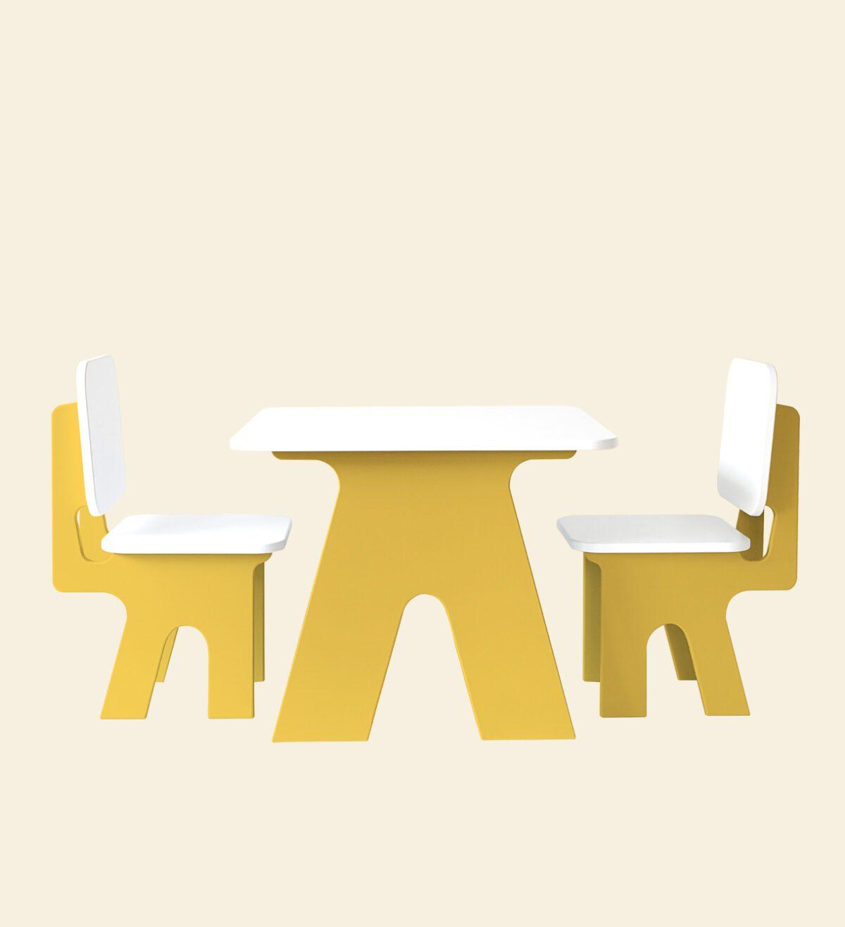 Kinderstoel met tafel set dipperdee geel
