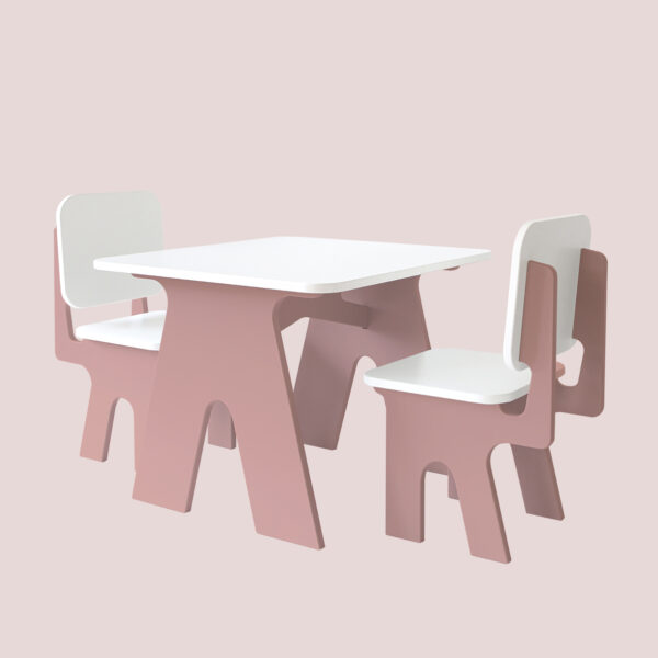 Kinderstoel roze met kindertafel Dipperdee Jindl