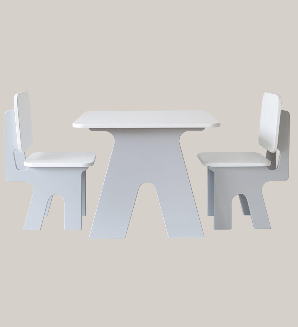 Kindertafeltje met stoeltjes set dipperdee grijs