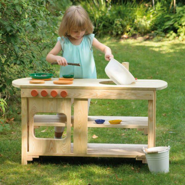 Houten buitenkeuken | modderkeuken voor kinderen detail 1