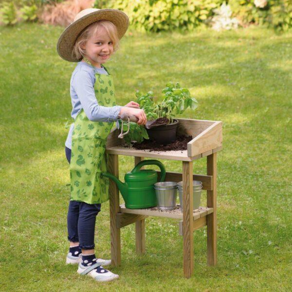 Houten buitenspeel- en plantentafel detail