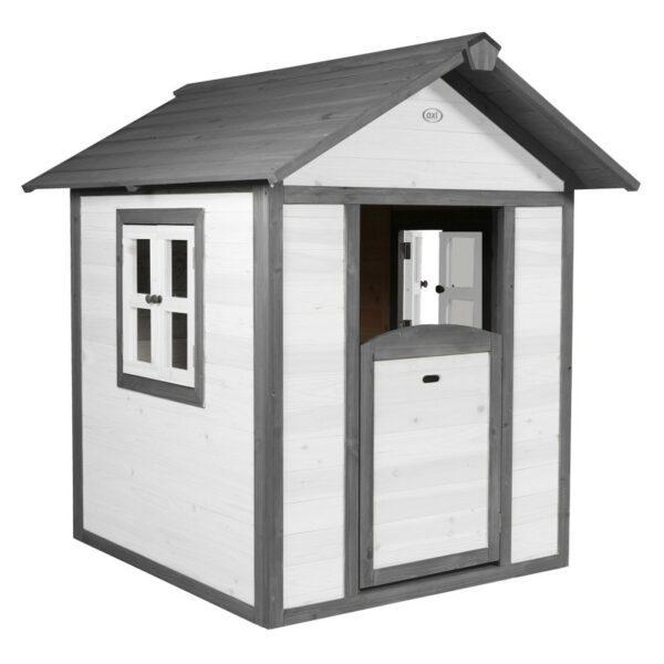 Houten speelhuisje wit:grijs voorzijde