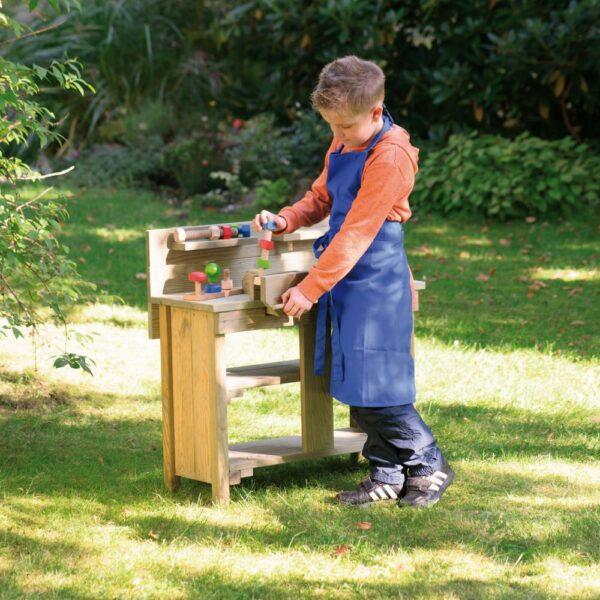 Houten werkbank voor kinderen detail