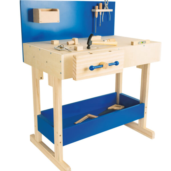 Kinderwerkbank van hout met gereedsdchap