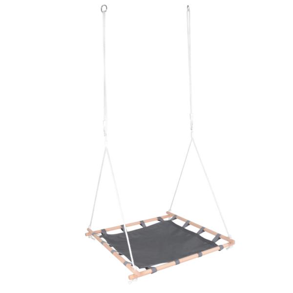 Nestschommel met houten frame zijkant