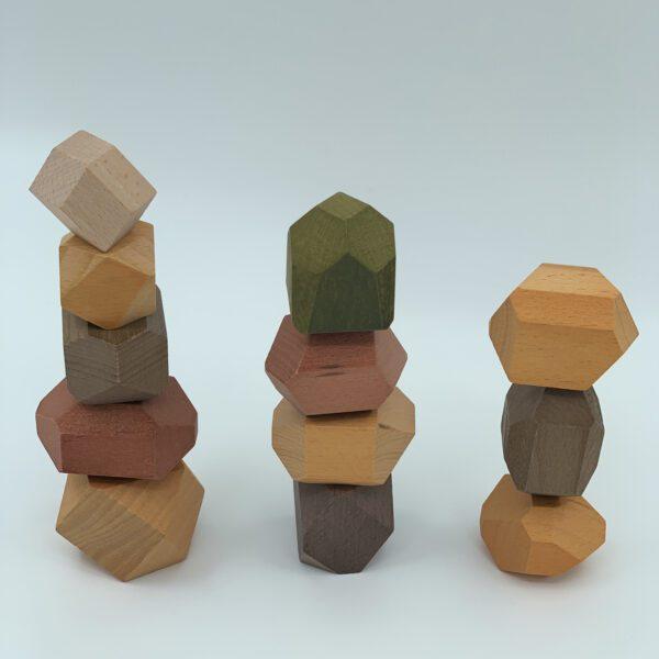 Houten bouwstenen balanceerstenen Jindl aardetinten