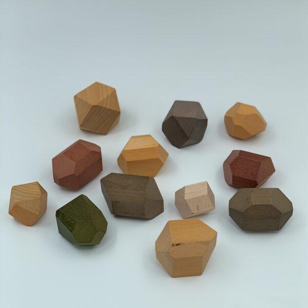 Houten bouwstenen balanceerstenen Jindl aardetinten overzicht