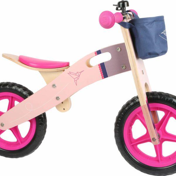 Houten loopfiets roze