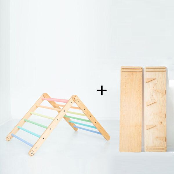 Pikler triangle pastelkleuren met glijbaan klimhelling