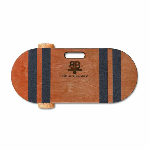 Houten balance board met kurkrol wave bruin detail