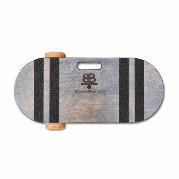Houten balance board met kurkrol wave grijs detail