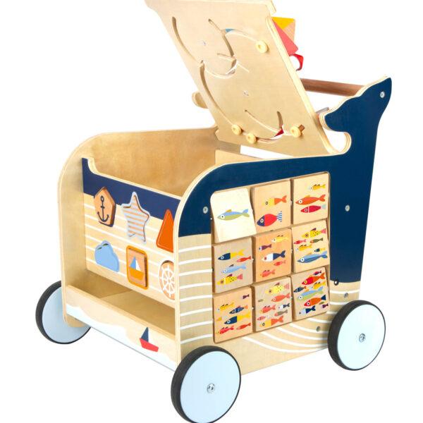 Houten loopwagen met-speelelementen blauw klep