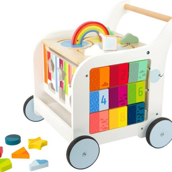 Houten loopwagen met speelelementen, wit